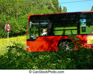 Bus and sign