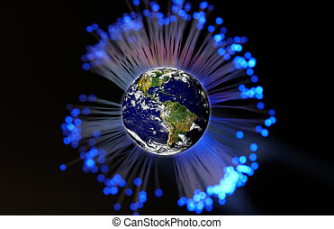 Global Communication - Planet Earth Surrounded By Fiber...