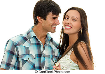 Happy Couple - Happy heterosexual couple having fun, big...