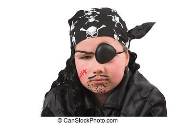 dix, année, vieux, girl, habillé, haut, pirate