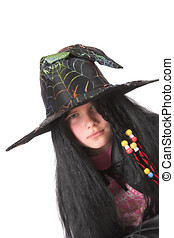 Serious witch - Little girl dressed up like a witch for...