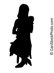 Silhouette With Clipping Path of Child and Baby - Silhouette...