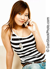 Talking cell phone - Sexy asian model talking cell phone