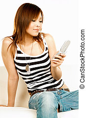 Holding cell phone - Sexy asian model holding cell phone