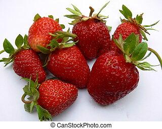 Strawberry macro isolated on awhite background