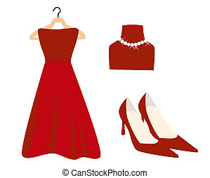 Red Fashion - Red Dress and Accessories