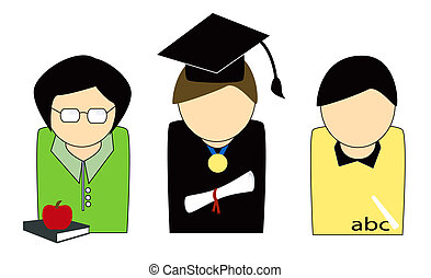 Education People - Teachers and Graduate Illustration