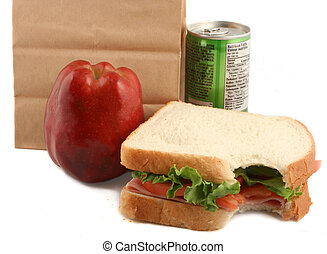 healthy luch - healthy lunch of ham sandwich with tomatoes...