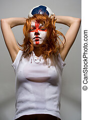 tryumph - english football makeup girl holding worn soccer...