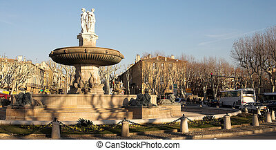 Aix-en-provence 59 - The central roundabout fountains in...