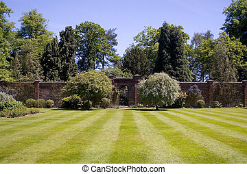 Walled garden - A walled garden with a beautiful lawn. With...