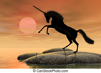 Unicorn - A fantastic unicorn silhouetted against the...