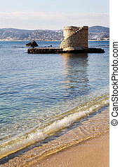 Antibes #223 - Ruins surrounded by water in Antibes, France....