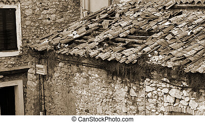 Antibes #98 - A stone building in Antibes, France. Sepia...