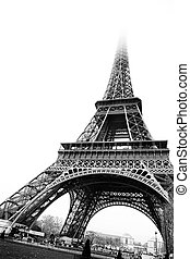 Paris 18 - The Eiffel Tower in Paris, France Black and white...