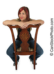 Woman on Chair with Clipping Path