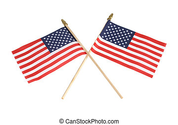American Flags - Two American flags, criss-crossed, isolated...