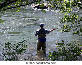Fly Fisherman - Fly fishing among the rocks and trees in a...