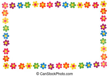colorful flowers - colorful flower border and frame