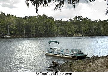 Pontoon Boat - Pontoon boat on the Suwannee River.