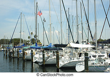 Yachts lined up at the Municipal Marina in St. Petersburg,...