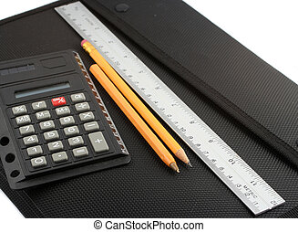 school supplies - school binder, ruler, pen, calculator, and...