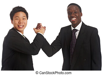 ok, good job - an asian and a black businessman doing a...