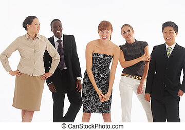 break - a group of young, international businesspeople...