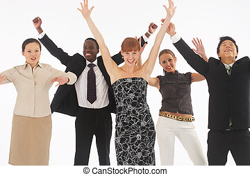 hands up - a group of young, international businesspeople...