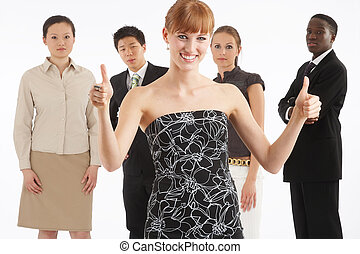 fine - a group of young, international businesspeople...