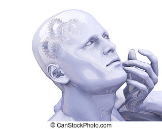 Thinking - 3D render of a man thinking with interlocking...