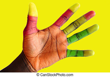 Colour Fingers - This is an image of a black hand with...