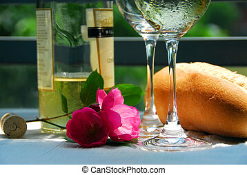 White wine with glasses closeup - Table setting with chilled...