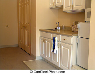 Small kitchen in apartment - muted toned kitchenette in...