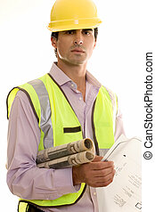 Construction Worker - Construction worker holding blueprints...