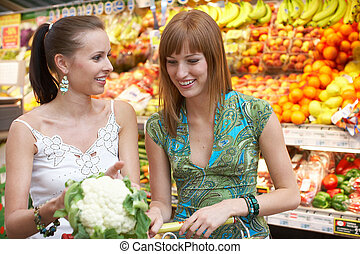 shopping list - two friends while shopping