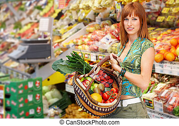 fruit basket - red haired beauty while shopping