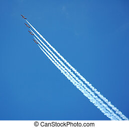 Air show - Lines with jets in the sky