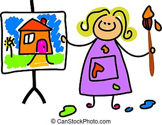 painting kid - little girl admiring her work of heart -...