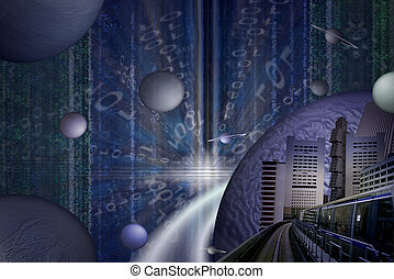 Fantastic city - futuristic city with a matrix like...