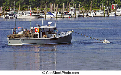 Lobster boat in harbor