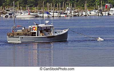 Lobster boat in harbor