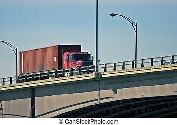 Tractor Trailer Truck on bridge semi
