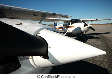 General Aviation Aircraft - Closeup of a propeller with...
