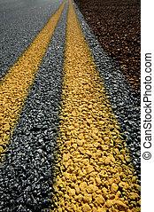Double Yellow Lines on Roadside