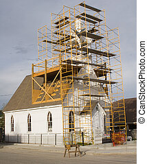 repair church 3 - An old church under repair, from the front...