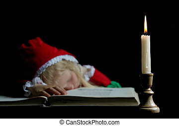 Ancient girl - Little gilr sleeping on a book Black...