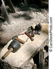 A mason\\\'s tools - The tools of a stonecutter / chiseler.