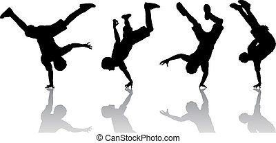 Breakdancers - Silhouettes of breakdancers