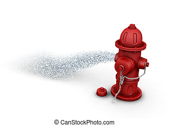 Fire hydrant - 3D render of a fire hydrant spraying water